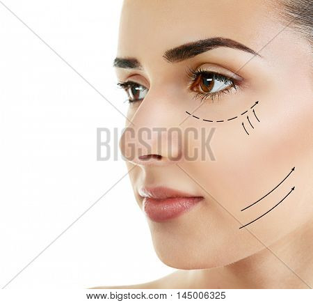 Plastic surgery concept. Portrait of beautiful woman on white background