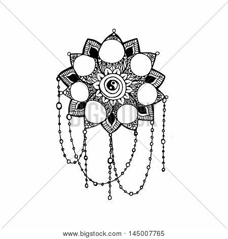 Doodle style monochrome black line art lotus with circles for your design. Vector tempate for logo design or adult coloring pages