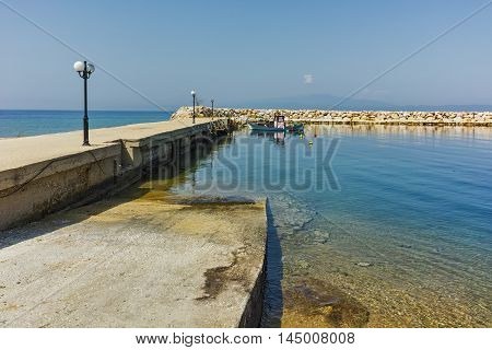 Amazing seascape of pier of Skala Sotiros, Thassos island, East Macedonia and Thrace, Greece poster
