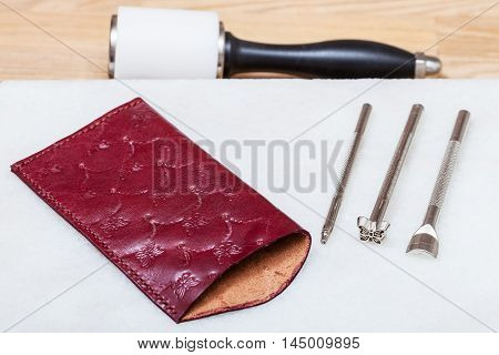 Handmade Leather Eyeglass Case And Stamping Tools