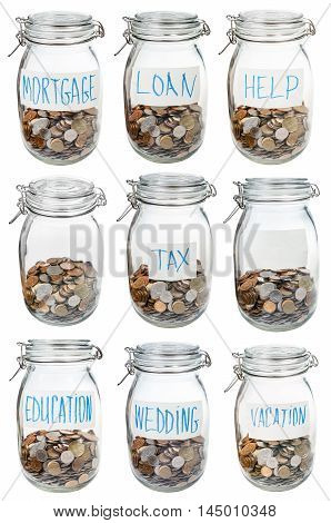 Glass Jars With Coins For Different Occasions