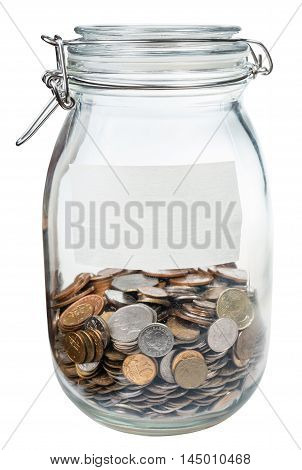 Glass Jar With Empty Label And Saved Money