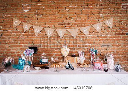 A candy bar for children at a wedding