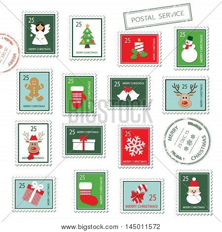 Christmas postal stamps set isolated on white.