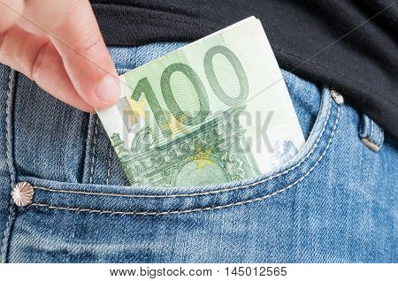 Closeup Of Euro Money In Somebody's Pocket