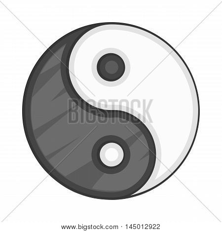 Ying yang icon in cartoon style on a white background