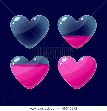 Vector illustration.Set of Cartoon glossy hearts.Hearts isolated on a dark background.Game icon.Vector design for app user interface and score display.Pink hearts.Ranking game elements.For animation