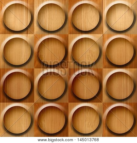 Wooden rounded abstract blocks stacked for seamless background veneer alder