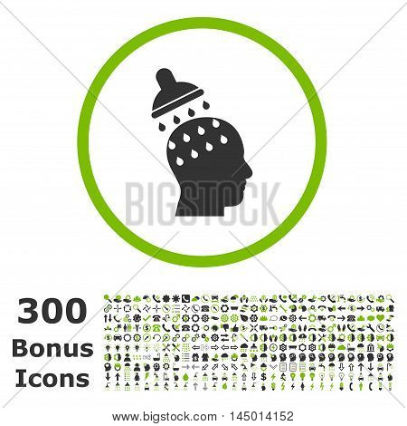 Brain Washing rounded icon with 300 bonus icons. Vector illustration style is flat iconic bicolor symbols, eco green and gray colors, white background.