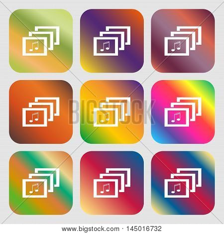 Mp3 Music Format Sign Icon. Musical Symbol . Nine Buttons With Bright Gradients For Beautiful Design