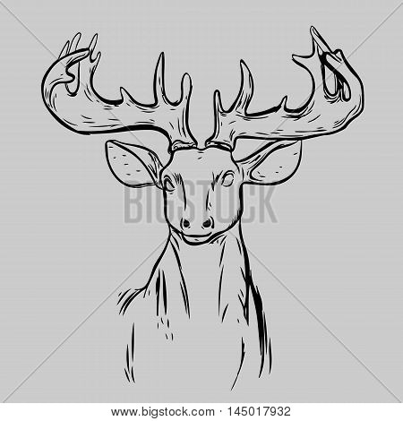 Deer Mascot Head.Deer Head Animal Symbol.Engrave isolated vector.Hand Drawn Graphic.Isolated on gray background.Great for Badge Label Sign Icon Logo Design.Quality Emblem.