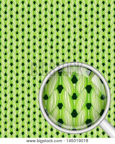Green realistic seamless knitted pattern with detailed close-up