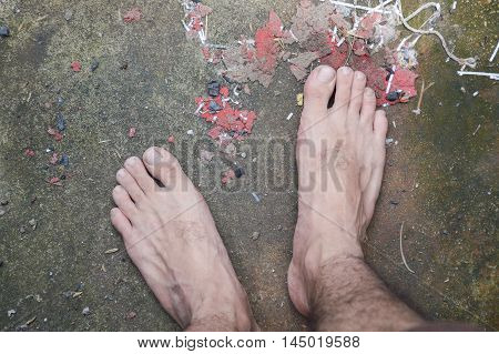 close up foot man on cement floor