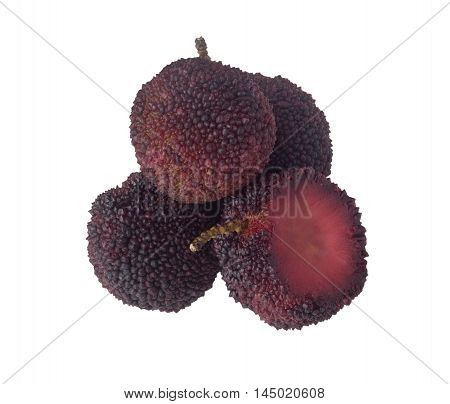 Some Chinese bayberries isolated on white background