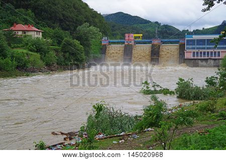 Dam flood after storm on Bistrita river rainy season.