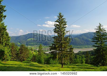 Bistrita river valley in Romania villages and forest