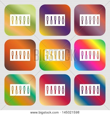 Dj Console Mix Handles And Buttons Icon Symbol . Nine Buttons With Bright Gradients For Beautiful De