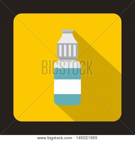 Refill bottle icon in flat style on a yellow background
