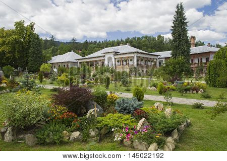 Beautiful garden view and nuns house at Varatec orthodox Monastery.