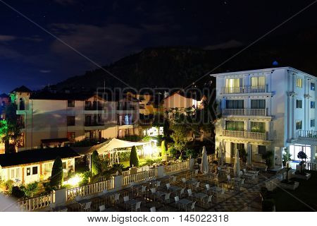 Kemer summer resort by night in Antalya