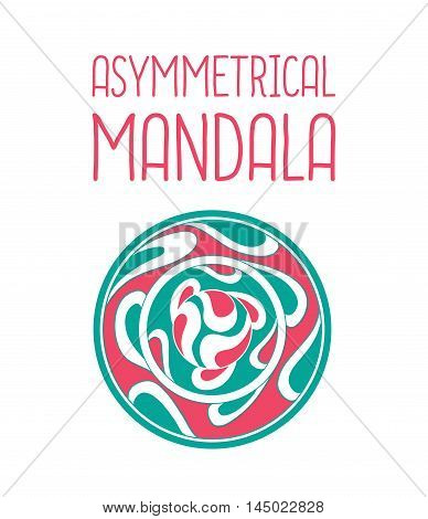 Asymmetrical Pink And Blue Mandala Design With Drops In A Circle Geometric Shape.