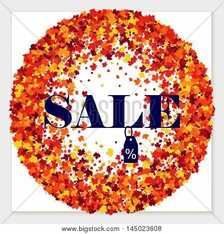 Vector sale wreath of scattered maple leaves in autumn colors. Isolated.