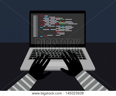 Hacker security steal your data and system with code internet. theft of data from the computer