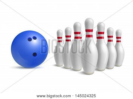 Bowling ball and skittles. Sport equipment for game. Hobby and recreation. Blue bowl and bowling pins. Vector illustration isolated on white background.
