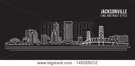 Cityscape Building Line art Vector Illustration design - jacksonville city