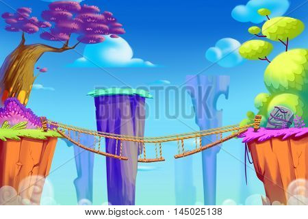 The Bridge between Mountains. Video Game's Digital CG Artwork, Concept Illustration, Realistic Cartoon Style Background