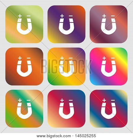 Horseshoe Magnet, Magnetism, Magnetize, Attraction Sign Icon . Nine Buttons With Bright Gradients Fo