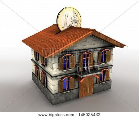 3d illustration of money box house with euro coin
