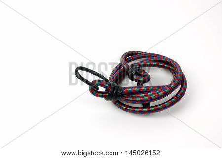 Elastic strap rope isolated on white background.