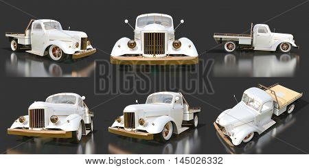 Set old restored pickup. Pick-up in the style of hot rod. 3d illustration. White car on a black background