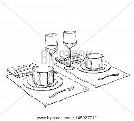 Hand Drawn wares. Romantic dinner for two. Soup and wine.