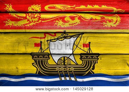 Flag Of New Brunswick Province, Canada, Painted On Old Wood Plank Background