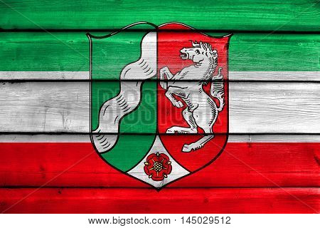 Flag Of North Rhine-westphalia With Coat Of Arms, Germany, Painted On Old Wood Plank Background