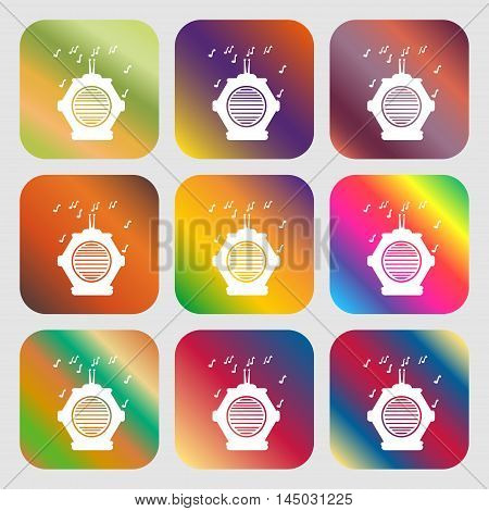Old Analog Radio Sign Icon . Nine Buttons With Bright Gradients For Beautiful Design. Vector