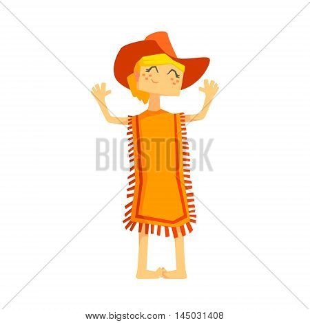 Little Barefoot Girl Wearing A Poncho And Cowboy Hat. Cool Colorful Wild West Themed Vector Illustration In Stylized Geometric Cartoon Design
