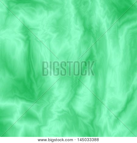 Abstract green silky background. Color fabric overflow. Cloth wavy colorful texture. Flowing streamy silk effect. Vector illustration