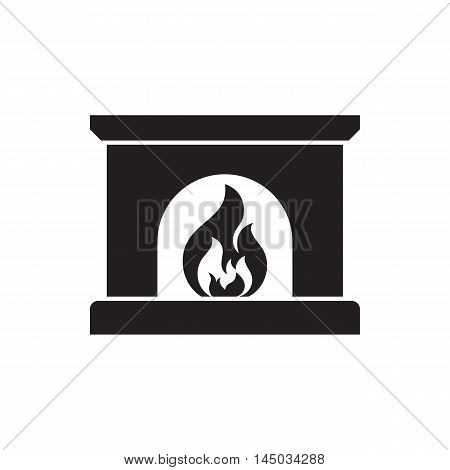 Simple fireplace icon, silhouette design vector suitable for smartphone application