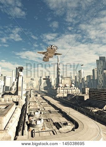 Science fiction illustration of an interstellar space ship on its final approach to landing in a futuristic sci-fi city, digital illustration (3d rendering)