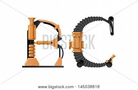 Steampunk letter made of different technical pieces: pipes blocks screws etc. Letter B and C.