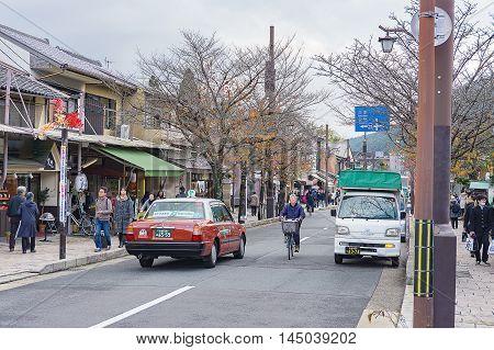 Kyoto Japan - December 3 2015:Street view of Arashiyama city Kyoto