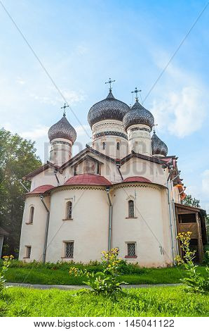 Church of St Theodore Stratilates on the Shirkov street Veliky Novgorod Russia - facade view. Architecture summer landscape