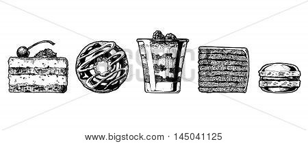 Vector hand drawn illustration of cakes set. Dessert: tiramisu donut cranachan vinarterta and macaron.