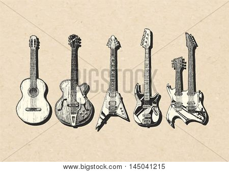 Vector hand drawn illustration of guitar set. Acoustic (classical) semi-acoustic guitar (archtop) electric bass and double neck guitars.