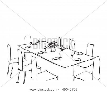 Hand Drawn wares. Dinner for 8 person. Flowers and dishes