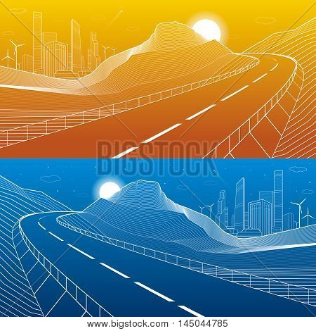 Highway in mountains, night scene, neon city and business buildings on background, , white lines landscape, day and night, vector design art