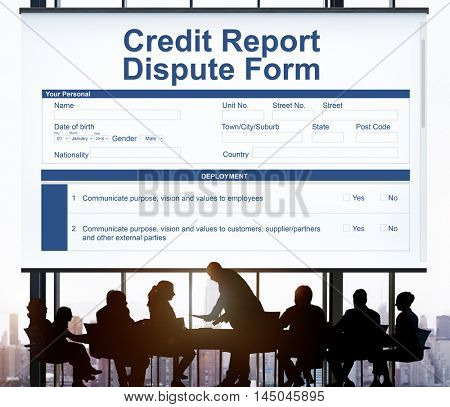 Credit Report Dispute Form Insurance Concept